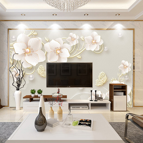 Custom Mural Wallpaper 3D Stereo Relief Jewelry Flower Modern Simple European Style Living Room TV Background Photo Wall Paper