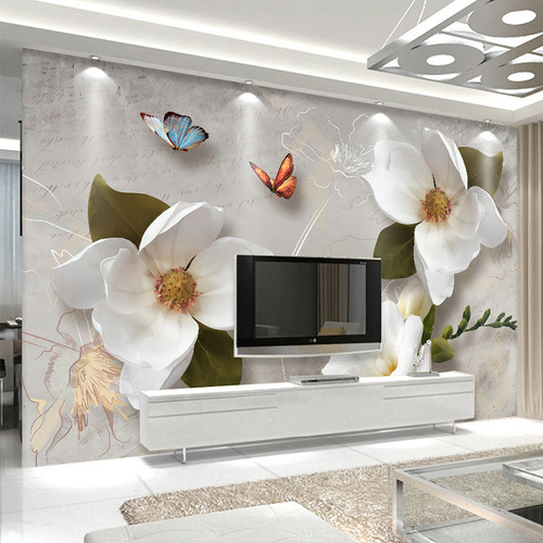 Custom Mural Wallpaper 3D Stereo Relief Flowers Butterfly Fresco Modern Simple Living Room TV Sofa Background Wall Paper For 3 D