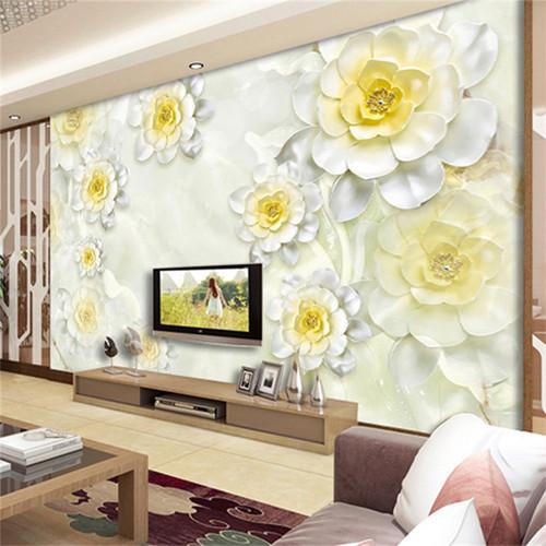 Custom 3D Mural Wallpaper Modern White Flower Stereo Relief Fresco Living Room Hotel Backdrop Wall Decor Wallpaper For Walls 3 D