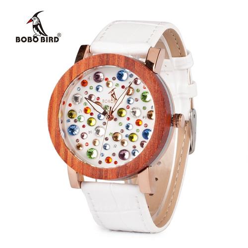 2017 Luxury Brand BOBO BIRD Watch Women Wooden Watches Genuine White Leather Strap Ladies Wristwatch relogio feminino C-J04