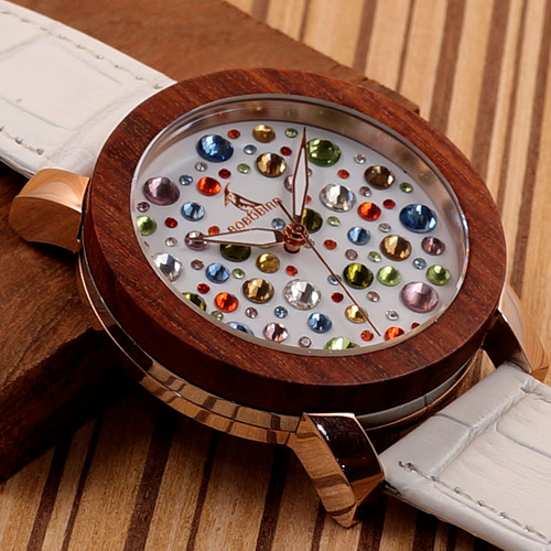 2017 Luxury Brand BOBO BIRD Watch Women Wooden Watches Genuine White Leather Strap Ladies Wristwatch relogio feminino C-J04