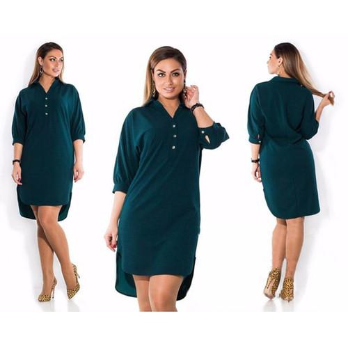 L-6XL 2018 Spring Summer Dress Big Size Fashion Casual Asymmetrical Dress New Elegance Irregular Dress Plus Size Women Clothing