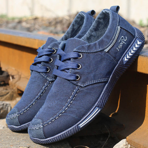 Men sneakers 2018 new denim lace-up canvas shoes men footwear spring summer plimsolls breathable sneakers men casual shoes