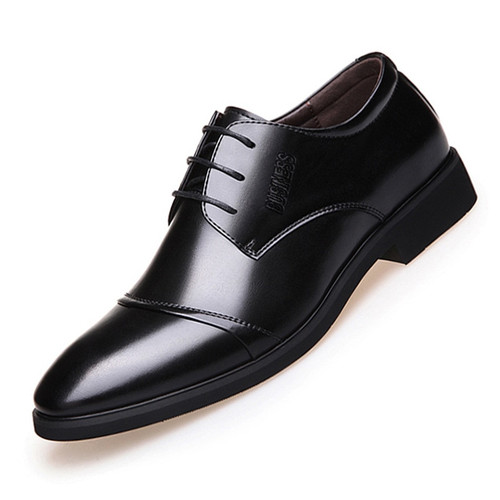 2018 new men's shoes selling high-quality shoes Leather Formal Dance Mens tip Head bright leather Mesh Business leather shoes