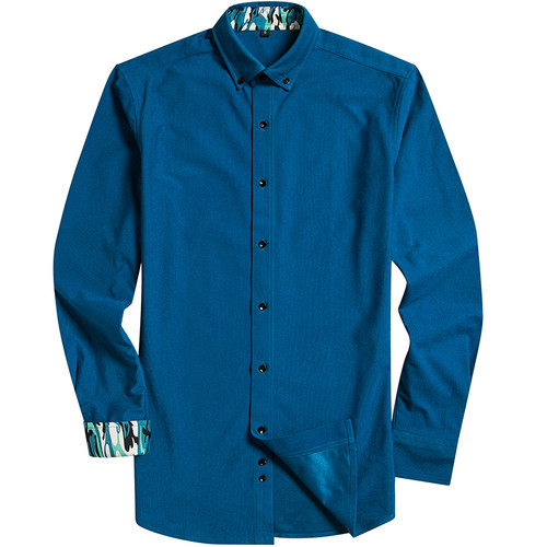 2018 Spring New Corduroy Men's Long Sleeved Business Casual Shirt Black Button Design 100% Polyester Fiber Soft Comfortable