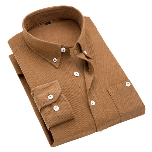2018 Spring Autumn new fashion casual long sleeve shirt Retro corduroy solid color British style quality shirts men M-5XL