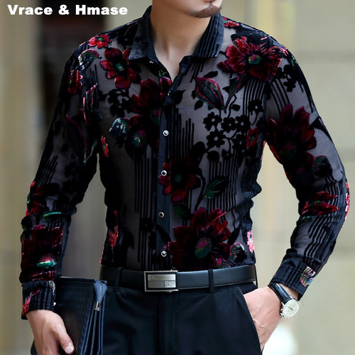 Exquisite flower pattern silk gold velvet hollow high-end shirt 2018 Spring&Autumn new fashion casual quality men shirt M-XXXL