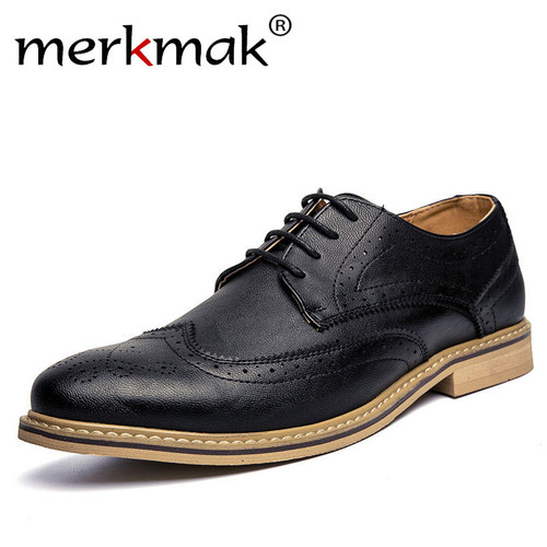 Merkmak New 2018 Luxury Leather Brogue Mens Flats Shoes Casual British Style Men Oxfords Fashion Brand Dress Shoes For Men