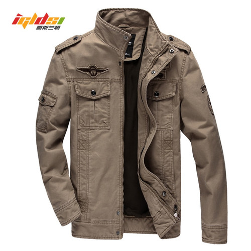 Men's military jacket Air force one male jean Army soldier Washing cotton coats New 2018 Spring Autumn Men Cargo jackets 5XL 6XL