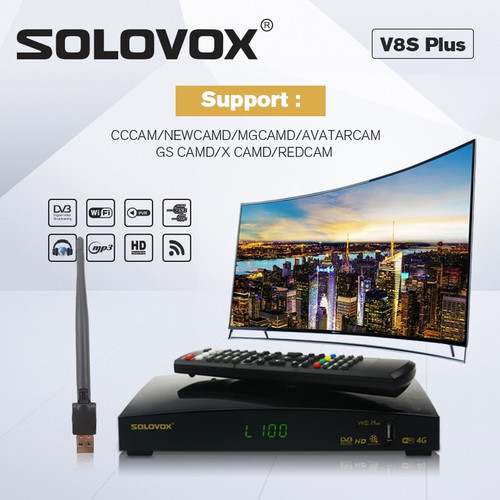 SOLOVOX V8S PLUS Satellite TV Receiver 2USB Support Biss Key WEB TV Home Theater Support CCCAM,WHEEL TV YOUTUBE YOUPORN DLAN