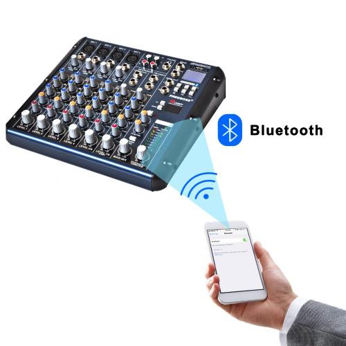 Freeboss SMR8 Bluetooth USB Record 8 Channels (4 Mono + 2 Stereo) 16 DSP Church School Karaoke Party USB DJ Mixer
