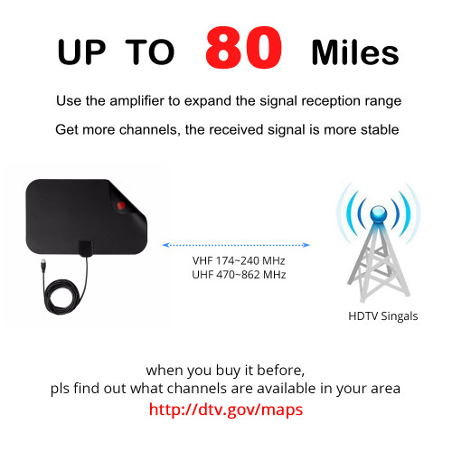 80 Miles Indoor Digital TV Antenna TV Radius TV Surf TV Fox Antena HDTV Antennas Receiver Amplifier Mini DVB-T/T2 UHF VHF Aerial