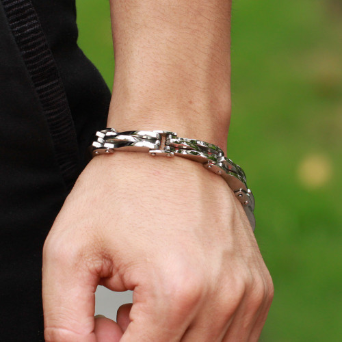 TrustyLan Polished Stainless Steel Bracelet Men Chain Link Men's Bracelets Fashion Male Jewelry Accessory Bracelete Mens Armband