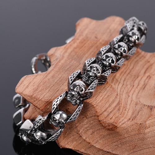 TrustyLan Stainless Steel Men's Bracelets Punk & Hippe's Skull Chain Bracelet Armband Masculine Jewelry Halloween Accessories