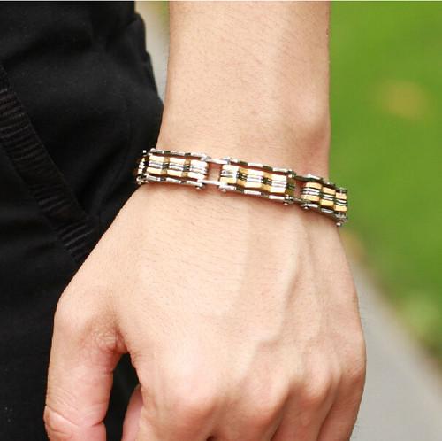TrustyLan Luxury 12MM Wide Gold Color Bracelet Men Cool Rock Hand Band Bracelets Golden Mens Wristband Male Jewelry Accessories