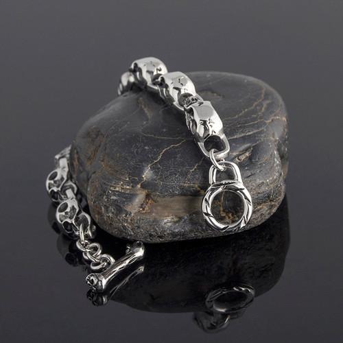 TrustyLan Stainless Steel Mens Friendship Bracelets Punk & Hippe's Skulls Chain Bracelet Masculine Jewelry Halloween Accessories