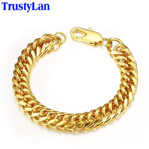 TrustyLan Fashion Male Accessories Gold Color Copper Chain Bracelet For Man Men's Bracelets Armband Bracelet Gifts For Him