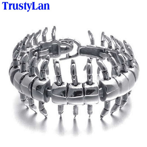 TrustyLan Charm Centipede Bracelet Fashion Biker Jewelry Accessory Punk Rock Stainless Steel Bracelets For Men Wrap Bangles 2018
