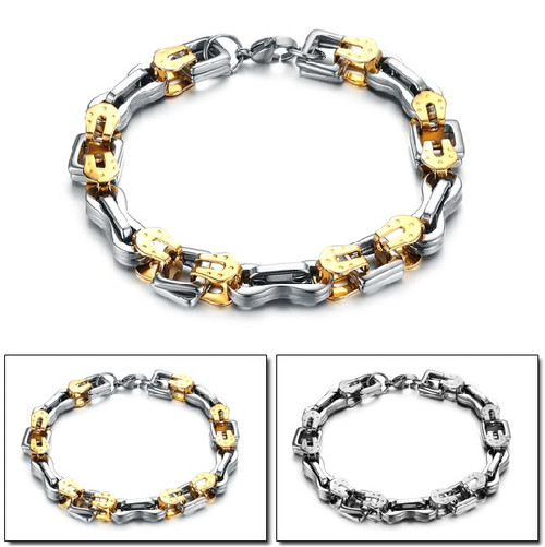 TrustyLan 9MM Wide Gold Color Chain Men Bracelet Stainless Steel Friendship Mens Bracelets Jewelry Accessory Armband Bangle