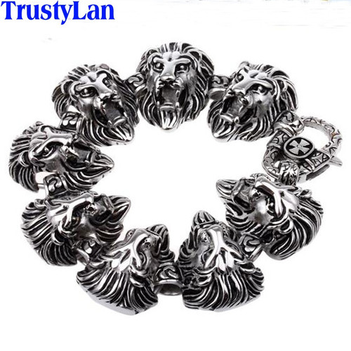 TrustyLan Animal Lion Head Jewelry Accessories Gothic Cool Stainless Steel Mens Bracelets Bangles Rock Punk Bracelet Brazalet