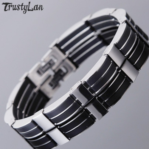 Jewelry Accessories Men Bracelet Male Brazalet 9.25 Inch Quality Stainless Steel & Black Silicone Mens Bracelets Wristbands 2018
