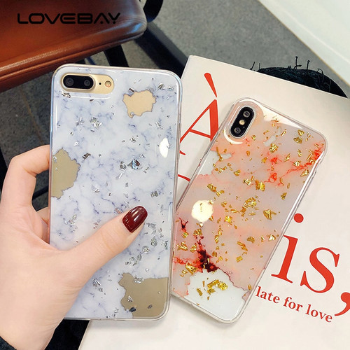 Lovebay Luxury Gold Foil Glitter Marble Stone Phone Cases For iPhone X 10 7 8 6 6S Plus Glossy Soft TPU Cover For iPhone 7 Case