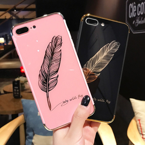 Lovebay Phone Case For iPhone X 8 7 6 6s Plus Luxury Smooth Feather Patterned Mirror Hard PC Back Cover Cases For iPhone 8 Capa