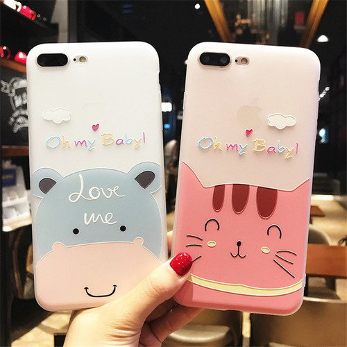 Lovebay Phone Case For iPhone 6 6s 7 8 Plus X Fashion Relief Cute Cartoon Cat Cow Painted Soft TPU For iPhone 8 Phone Case Cover