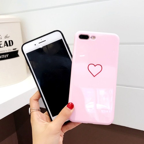 Lovebay Phone Case For iPhone 6 6s 7 8 Plus X Fashion Cute Cartoon Love Heart Smooth Soft TPU For iPhone 7 Couples Phone Case