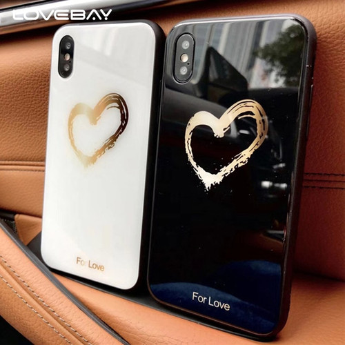 Lovebay Love Heart  Glass Case For iPhone X 8 7 6 6s Plus 9H Hardness Tempered Glass Hard For Love Phone Case Cover Back Cases