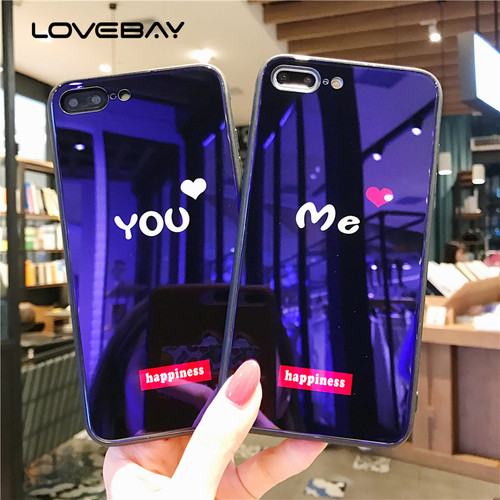 Lovebay Blu-ray Tempered Glass Love Heart Happiness Cases For iPhone X 8 7 6 6s Plus 9H Coverage HD Hard Phone Case Cover Back