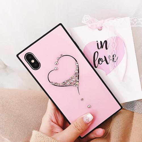 Lovebay 9H Hardness Lovely Love Heart Diamond Glass Case For iPhone X 8 7 6 6s Plus Tempered Glass Hard Phone Case Cover Back