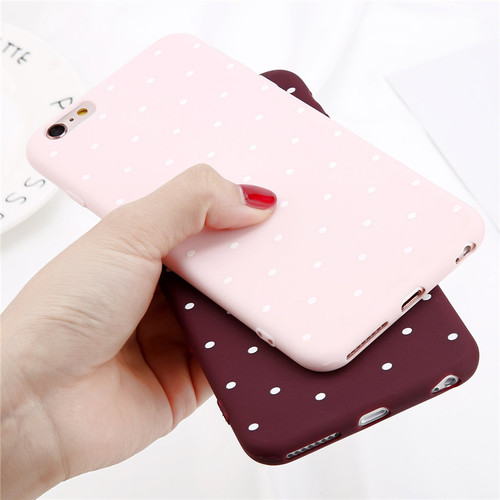 Lovebay Phone Case For iPhone 7 8 Plus Wine Red Ploka Dots Wave Point Cases For iPhone X 7 6 6S Plus 5 5S SE Soft TPU Back Cover