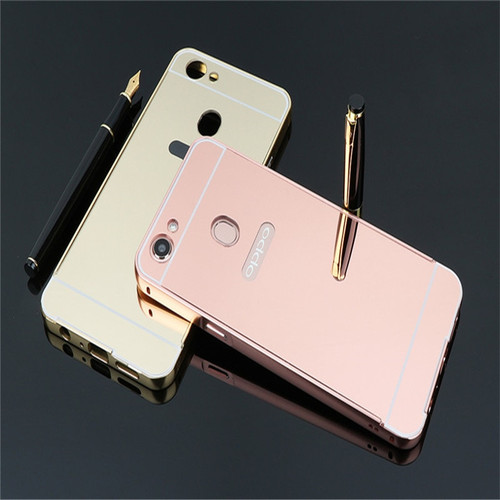 Luxury Aluminum For OPPO F7 Phone case Metal Frame Acrylic Rose Gold Mirror Back Cover For OPPO F7 F 7 Case 6.2 inch