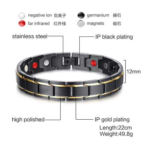 Vnox Black Men's Health Bracelets & Bangles Magnetic H Power Stainless Steel Charm Bracelet Jewelry for Man