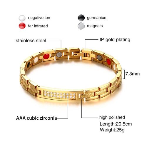VNOX Women Health Bracelet Bangle Gold-color CZ Stones Magnetic Power Bracelets Chain Jewelry 8 inch