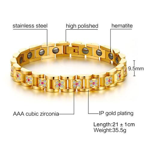 VNOX Luxury Women Health Bracelet Bangle CZ Stones Folower Shape Magnetic Power Bracelets Chain Jewelry