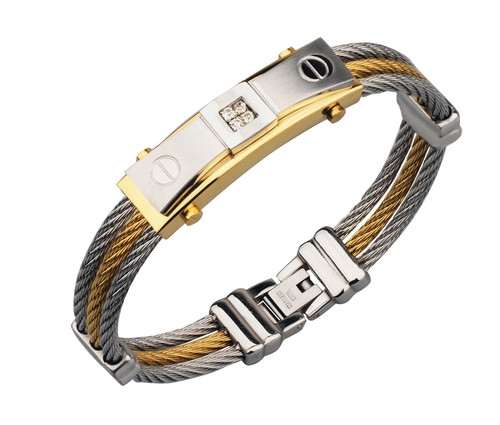 Gold Color Wire Cable Men Charm Bracelets Bangles High Quality Titanium Steel New 2017 Men Fashion Jewelry