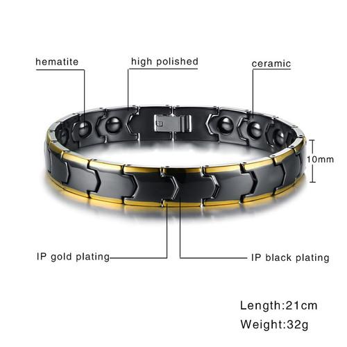 Vnox Mens Magnetic Hematite Therapy Bracelet Stylish Black Ceramic Link Chain Health Bracelets 21cm Male Jewelry