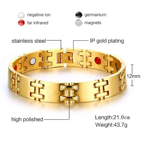 Vnox Health Care Magnetic Chain Bracelet 316l Stainless Steel Germanium Magnet Men Jewelry Black / Gold-color