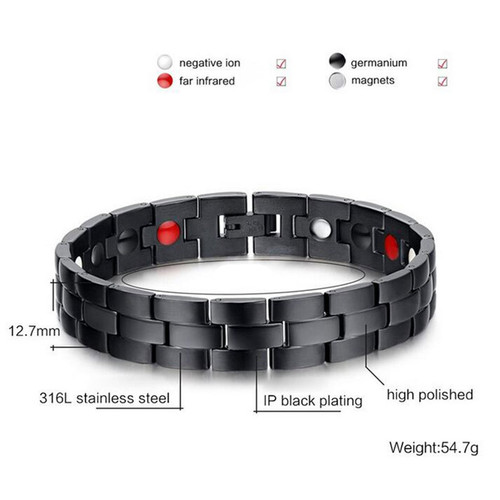 Vnox Men's Black Bracelet Bangle Magnetic Health Chain Men Charm Jewelry Stainless Steel free box