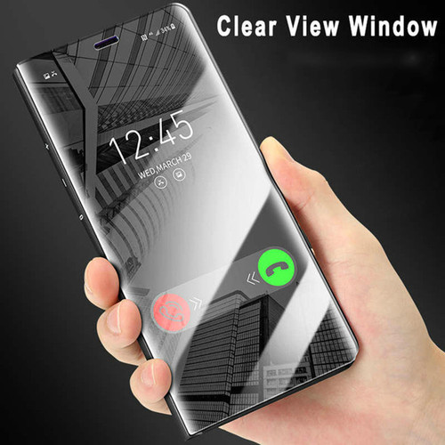 Smart  Mirror Flip Phone Case For Samsung Note 9 Galaxy S9 S9 Plus S8 Clear View Plating Phone Shell For iphone X 8 8 Plus