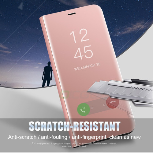 Smart View Mirror Case For Samsung A3 A5 A7 A8 Plus 2018 Flip Stand Cover Cases For Samsung Galaxy S9 S8 Plus S7 S6 Edge Case