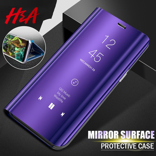 Clear Mirror Smart Phone Case For Samsung Galaxy S8 S7 J7 J5 J3 A8 A7 A5 A3 Flip Stand Cover For Samsung S9 S8 Plus Note 8 Case