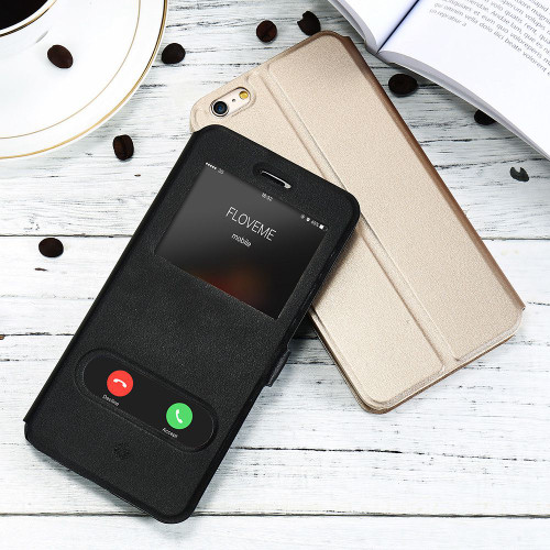 KISSCASE Magnetic Flip PU Leather Case For iPhone 6s 6 Plus 7 8 Plus Stand Window View Waterproof Back Cases For iPhone 5s 5 SE