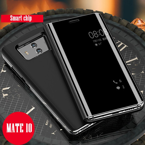 Luxury Mirror for Huawei Mate 10 Lite Case Flip Mate 9 10 Pro Hard Stand Clear View Phone Cover Case Honor 8 9 Lite V10
