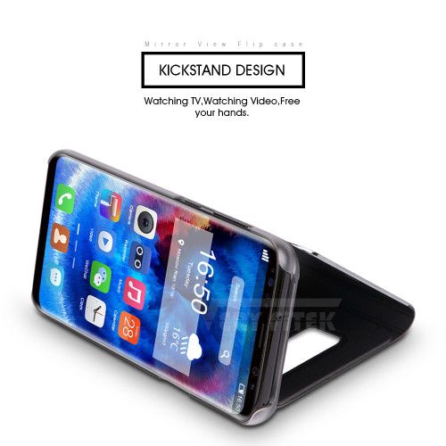 For Samsung Galaxy S9 S8 Plus S7 S6 edge A8 2018 Case Luxury Flip Stand Clear View Mirror Phone Cover For iphone X 8 7 6s 6 plus