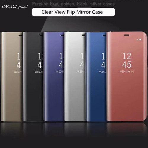 mobile phone Case For Samsung galaxy J7 pro J730 Clear View Flip Cases Electroplating Mirror Cell Phone Cover stand Fundas etui