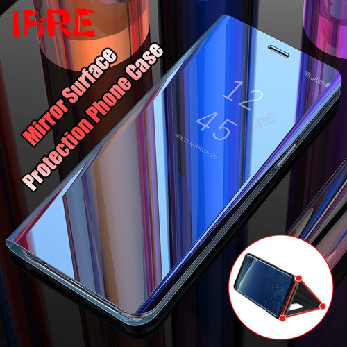 Case For Samsung Galaxy S8 S9 Plus Luxury Mirror Flip Stand Phone Cover s8plus s9plus Smart View For Samsung Note 8 S7 Edge Case