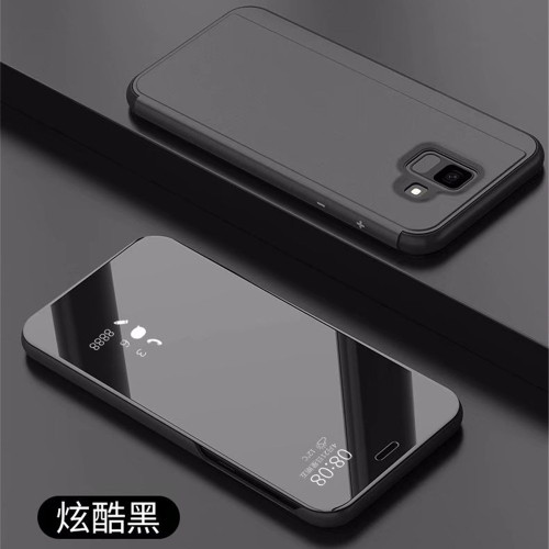 Clear View Mirror Smart Cover Cases for Samsung J4 J6 2018 Leather Flip Stand Case for Samsung Galaxy A5 A8 A6 Plus 2018 Coque